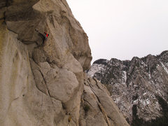 Rock Climbing Photo: Lance in the steep section of Cracked Egg.  Photo-...