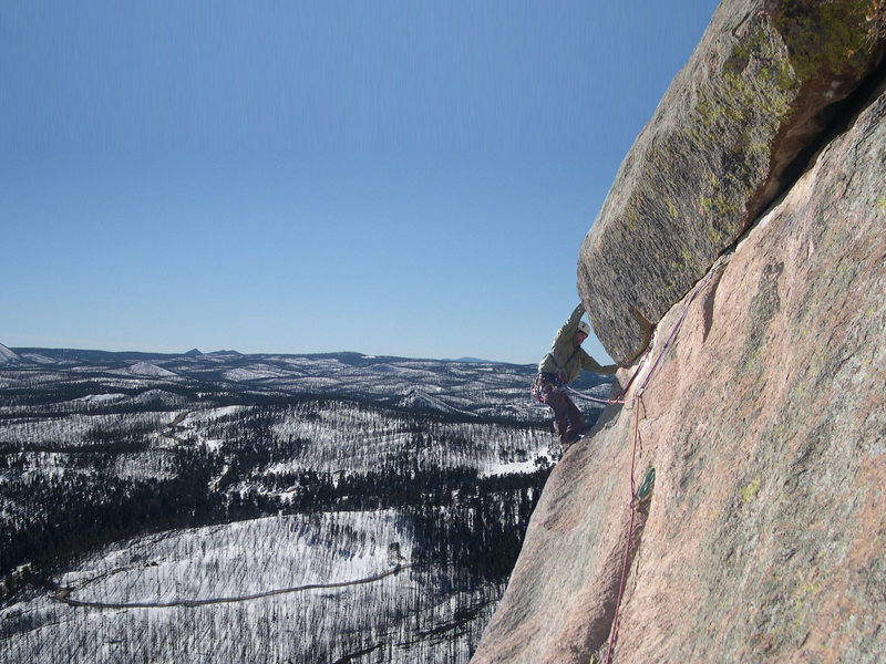 Finishing the crux on the Ozone Direct 10b, at sheeps nose