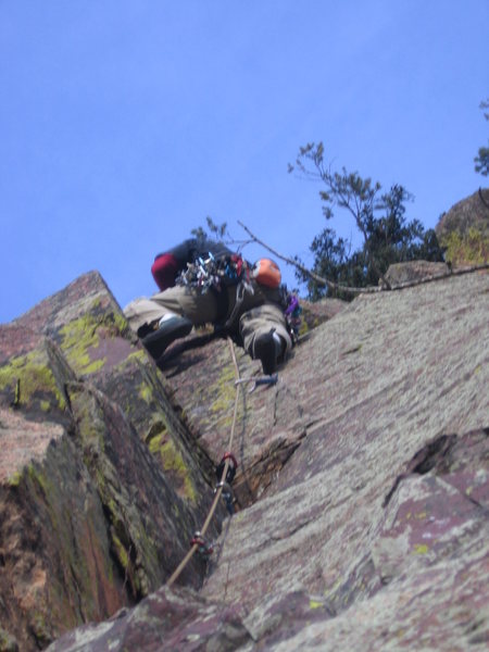 Lenny Miller above the crux on P2.