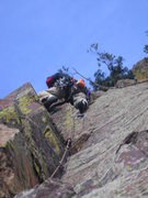 Rock Climbing Photo: Lenny Miller above the crux on P2.