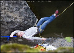 Rock Climbing Photo: Matt using the belay hamock
