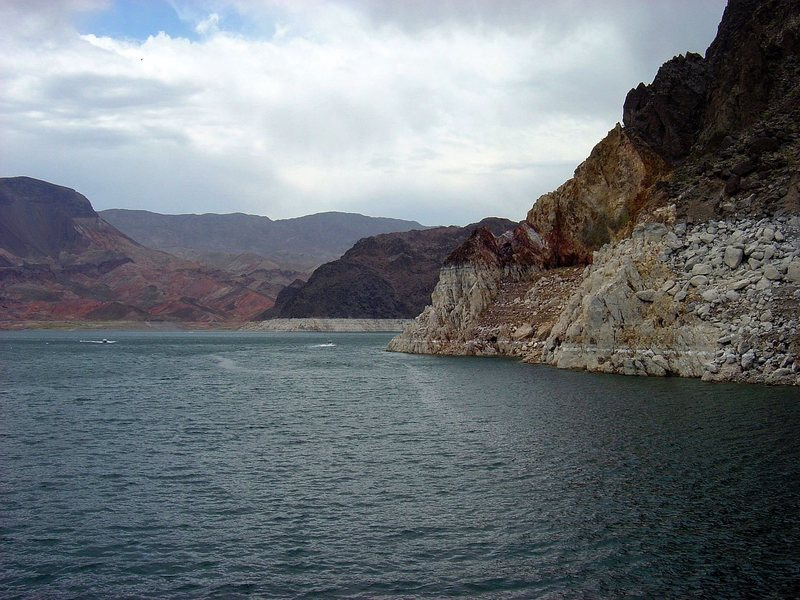Draught.  Lake Mead, 2004.  Probably worse now.  Hard to tell on photo but water level was down about 80 feet.