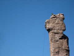 Rock Climbing Photo: working a new route on the Shmotem Pole