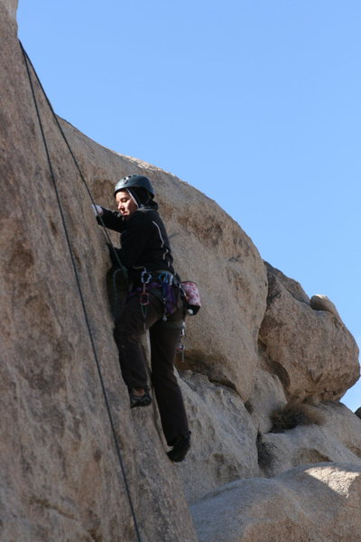 Rock Climbing Photo: Agina having fun on the right crack.