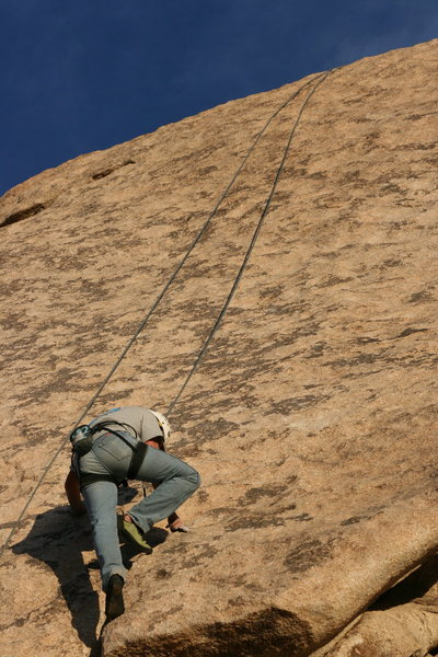 Nathan on Search For Klingons. Fun friction climbing ahead.