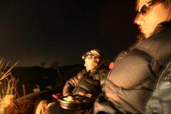 Rock Climbing Photo: Night time around camp. Agina and Roger.