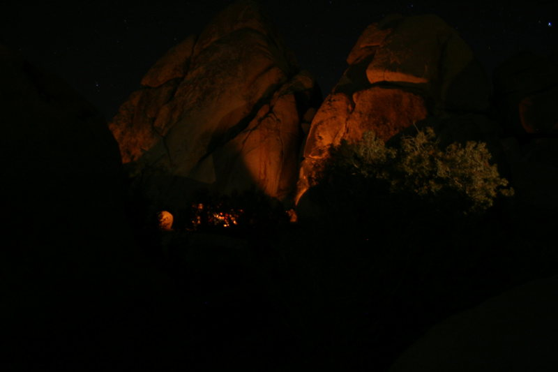 Rock Climbing Photo: Night time around camp. Fire glow on the walls.