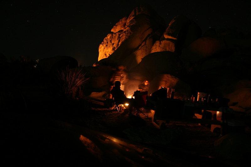 Night time around camp.