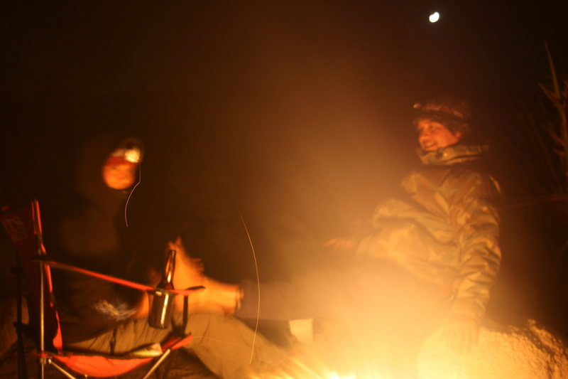 Night time around camp. Veronica giving Al a foot massage.