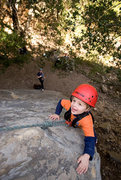Rock Climbing Photo: Bryson, nearly three years old, gets a belay from ...