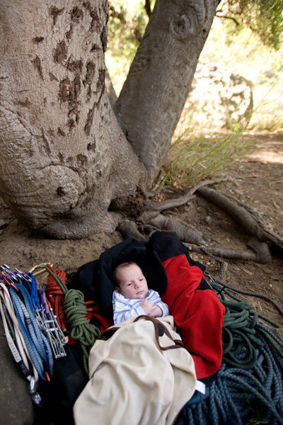 An important first: at just 4 weeks old, Wesley accompanies the family on a climbing outing.