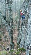 Rock Climbing Photo: nearing the top on the FFA