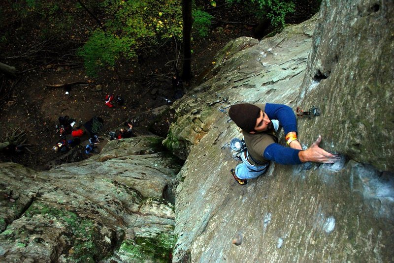 Near the top of 27 Years of Climbing (5.8)