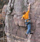 Rock Climbing Photo: Burt stabs at nothing