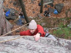 Rock Climbing Photo: Mike cranks on the big slopers