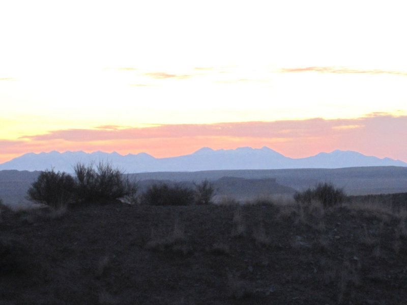 Rock Climbing Photo: Dawn on Sunday morning. Looking towards the La Sal...