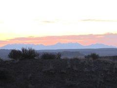 Rock Climbing Photo: Dawn on Sunday morning. Looking towards the La Sal...