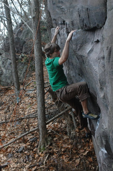Rock Climbing Photo: Going to the final big hold before the second crux...