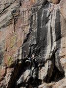 Rock Climbing Photo: Myself on Solitaire, 12-, Mt. Elden, AZ Photo Wade...