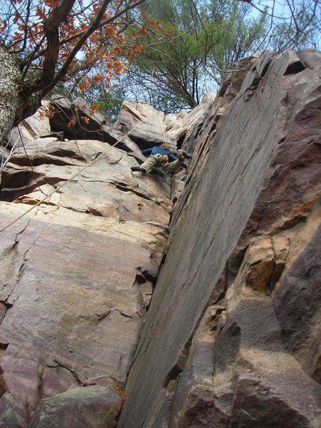 Matt Covert enjoying the upper half of Lost Temple Corner on 11-21-09.