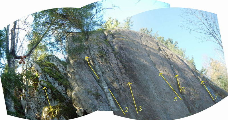 Sumas Mountain topo<br> <br> 1) unclimbed buttress<br> 2) Left Hand Crack 5.9<br> 3) dirty variation<br> 4) ? not shown on topo<br> 5) Central Crack Line 5.10-<br> 6) RH variation 5.7 dirty<br> 7) 5.7 slab<br> <br> there are more climbs further to the right<br> <br> Photo topo by Mike Guite, used w/permision.