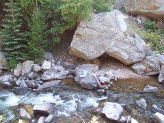 Rock Climbing Photo: The Tortoise Boulder and Boulder Creek.