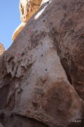 Rock Climbing Photo: Lay Back and Enjoy It topo (red bolts are for Hous...