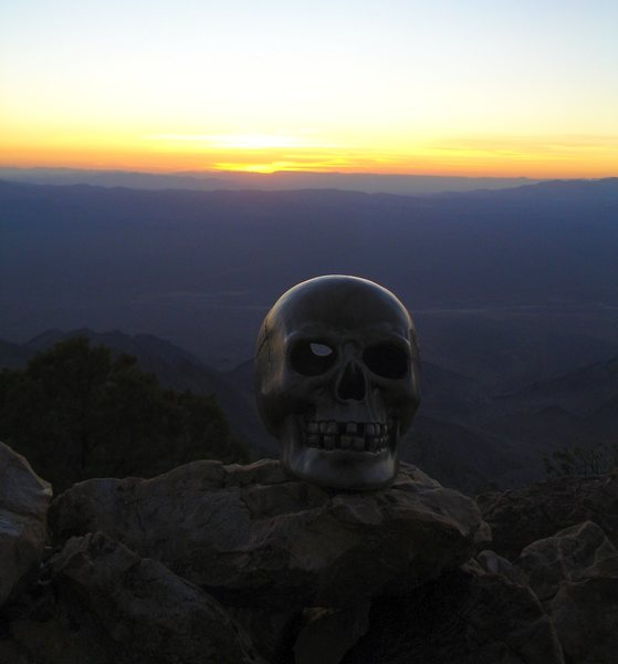 Rock Climbing Photo: Sunset on Tikaboo Peak, Nevada.   (Part of someone...