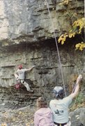 Rock Climbing Photo: Scott Danforth on main roof area of Rock Creek.