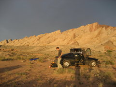 Rock Climbing Photo: Camp for the Spotted Wolf Canyon area . In the bac...