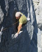Rock Climbing Photo: Frank Bentwood at the crux, pitch 1. Photo by Kell...