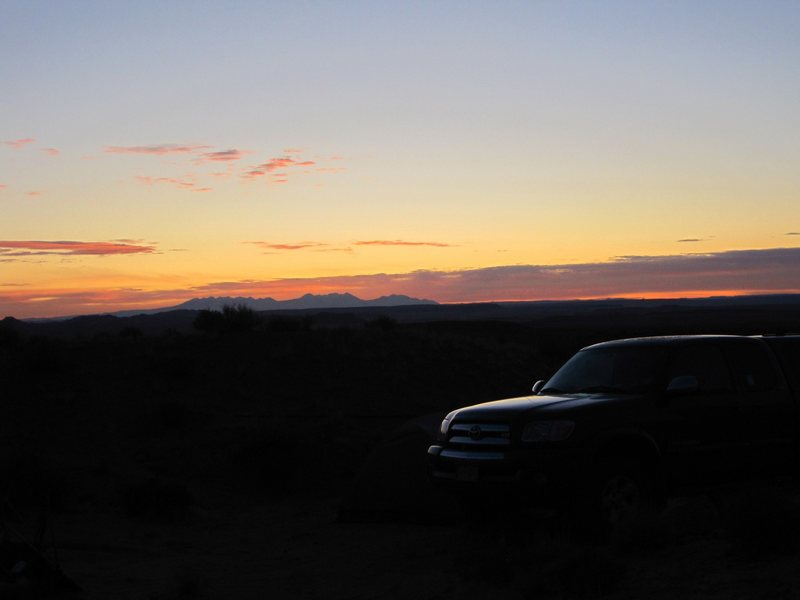 Sunrise looking towards the La Sal Mountains
