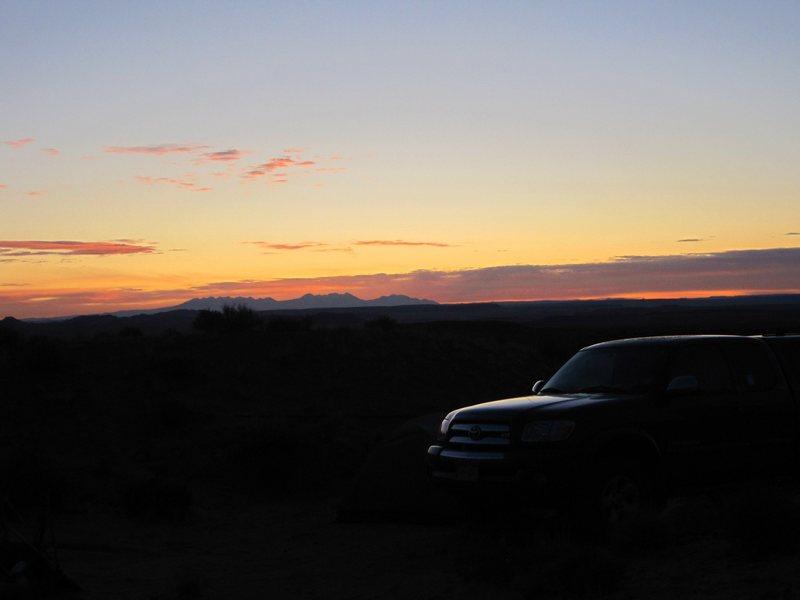 Sunrise looking towards the La Sal Mountains