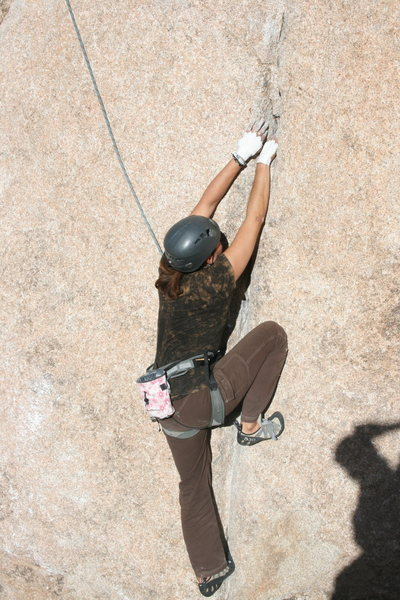 Rock Climbing Photo: below the crux of Leaping Leaner