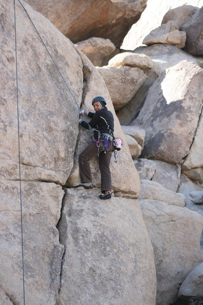 Rock Climbing Photo: working the right crack behind Headstone rock