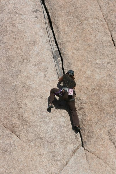 Rock Climbing Photo: at the start of the main crack on Leaping Leaner