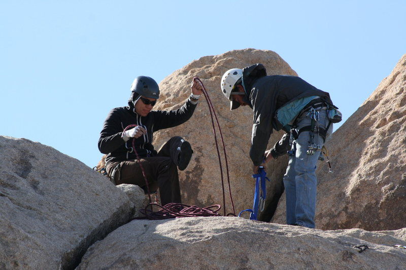 me & Nate setting the anchor for the left crack behind Headstone rock