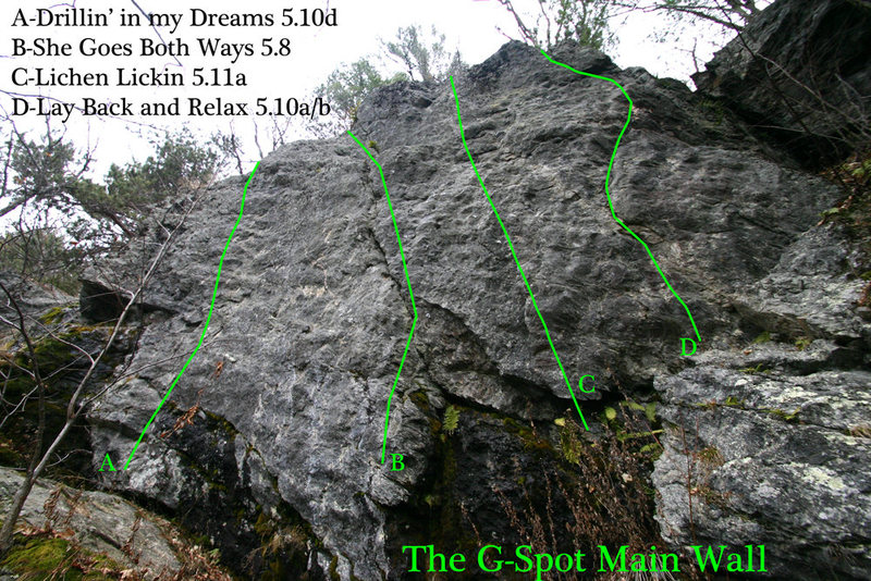 This is the last cliff you come to and the only one with multiple routes on it... its a little skewed due to the wide angle lense but you get the picture...
