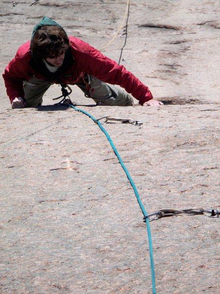 Rock Climbing Photo: Jon following perfect edges up the 2nd pitch