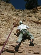 Rock Climbing Photo: Jake tackling the crux on this long route.