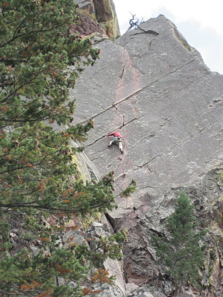 Rock Climbing Photo: Heading up the second pitch of Over the Hill or th...