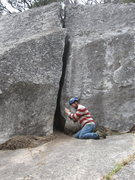 Rock Climbing Photo: Begin the groveling. Surprise (5.8) on Struggler C...