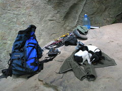 Rock Climbing Photo: The Jack Russel takes a nap.