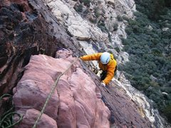 Rock Climbing Photo: Finishing up pitch 3 of Peanut Brittle.