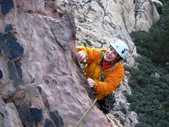 Rock Climbing Photo: Crux finale on pitch 4 of Peanut Brittle.  Another...