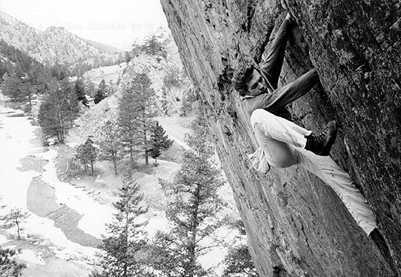Pat Ament on Supremacy Crack. Image from John Gill's website.<br> <br> Find out more at http://www128.pair.com/r3d4k7/Ament.html.<br> <br> Photographer: Tom Frost.