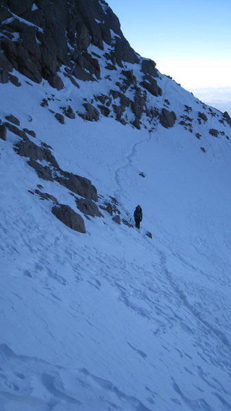 Another party on the hero rock traverse, near the Corinthian Column.