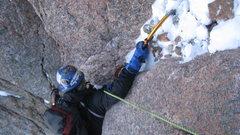 Rock Climbing Photo: Thomas mixing his way through the rubble top-out o...