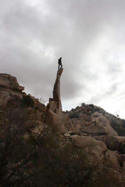 Nate shows us the way. Aiguille de Joshua Tree.<br> 11-28-09
