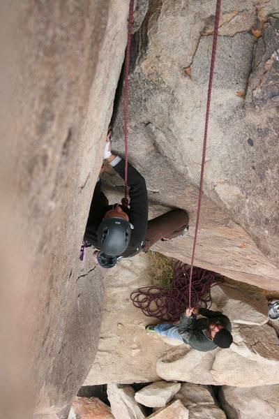 Rock Climbing Photo: Agina following Classic Corner. 11-28-09